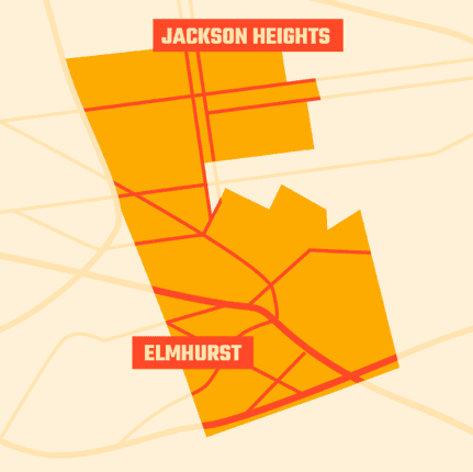 Simplified illustration of City Council district 25 borders in Jackson Heights and Elmhurst Queens