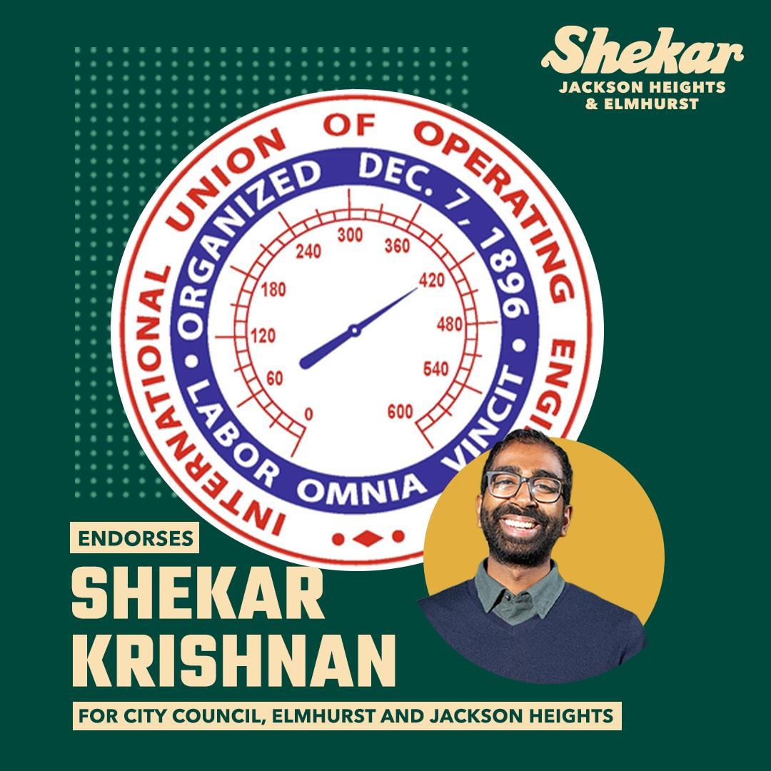 International Union of Operating Engineers endorses Shekar Krishnan