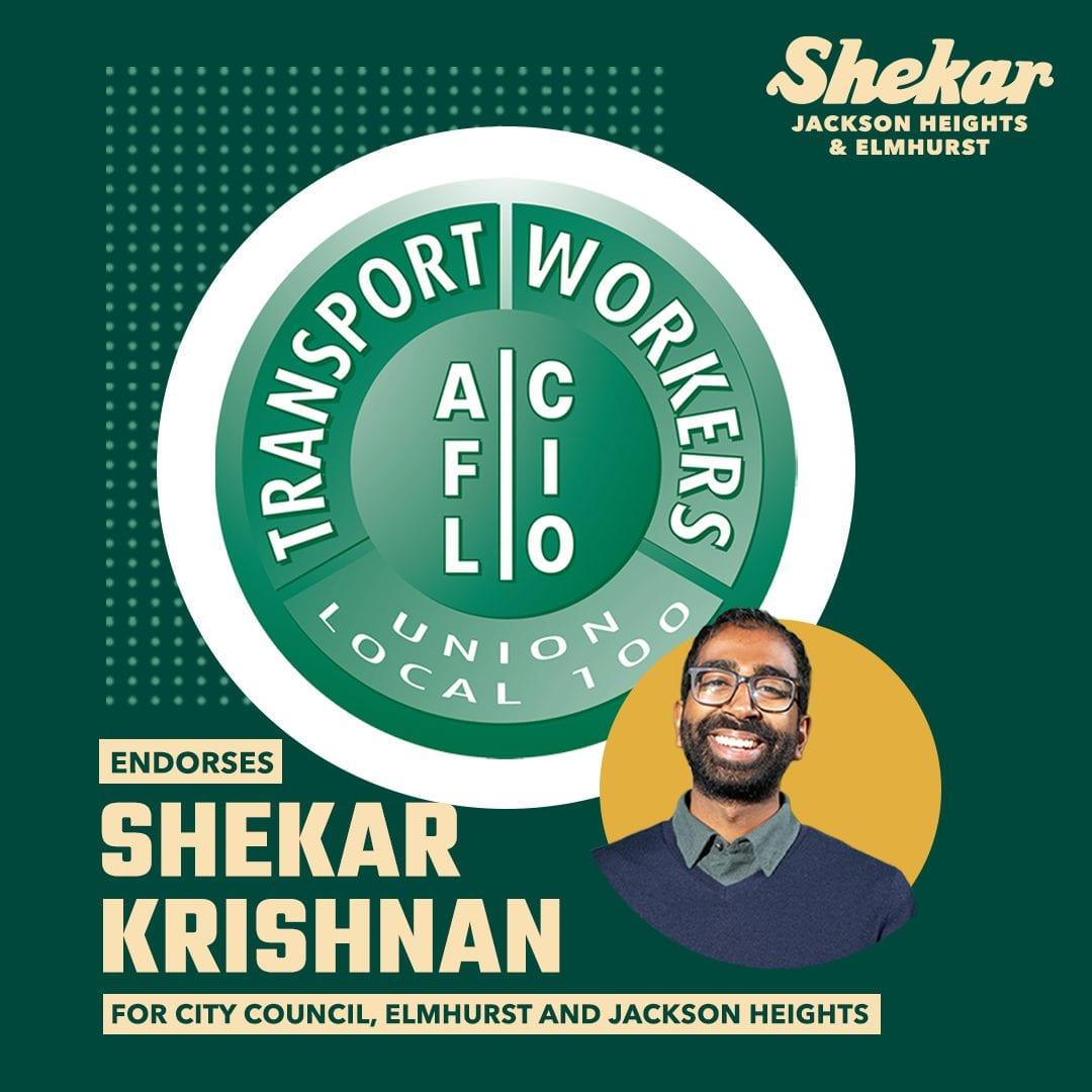Transit Workers Union endorses Shekar Krishnan